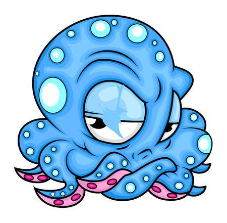 cartoon angry: Cartoon Angry Octopus