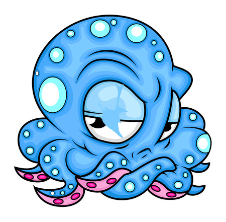 Cartoon Angry Octopus