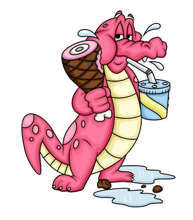 eating food: Cartoon Alligator Eating Food Illustration