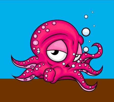 Depressed Octopus Character