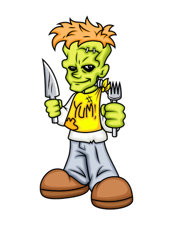 cartoon frankenstein: Cartoon Frankenstein Ready to Dinner