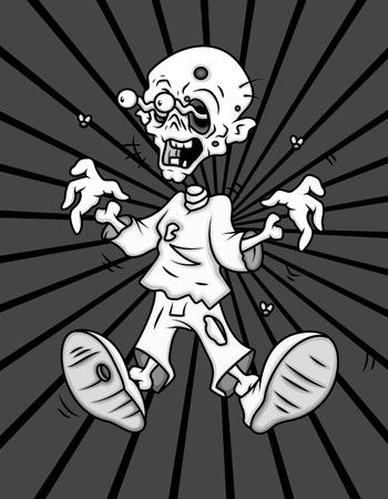 megrémült: Scared Cartoon Ghost Character Illusztráció