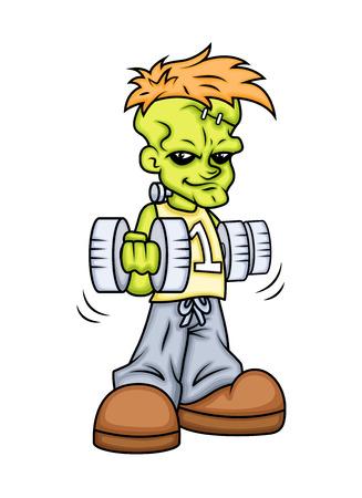 cartoon frankenstein: Weight Lifting - Cartoon Frankenstein Illustration