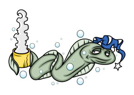 eel: Sleepy Eel Fish Drinking Hot Tea