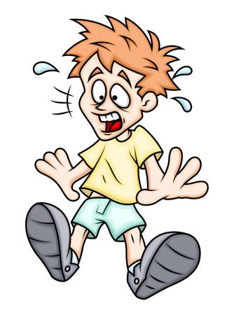 Scared Cartoon Boy Vector Illustration