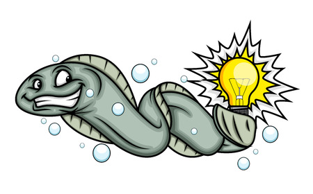 bad idea: Cartoon Electric Fish Vector