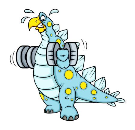 jungle gyms: Cartoon Dinosaur Doing Exercise Illustration