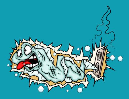electric shock: Choque eléctrico - Cartoon anguila Fish