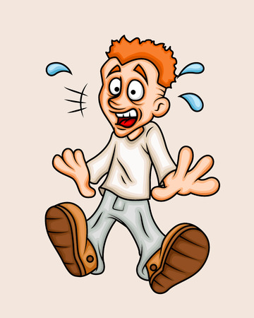 megrémült: Cartoon Scared Boy