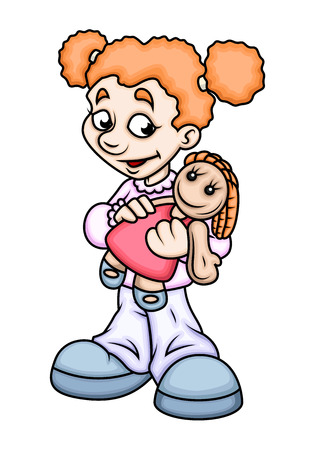 naughty girl: Cartoon Girl Holding a Doll