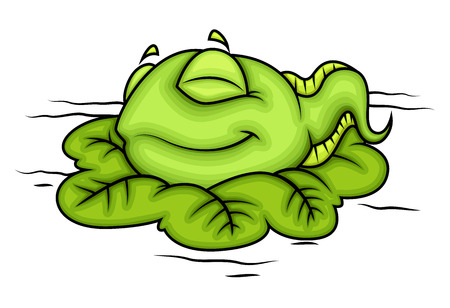 Cartoon Baby Frog Sleeping