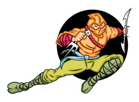 japanese ninja: Japanese Ninja Fighting Illustration