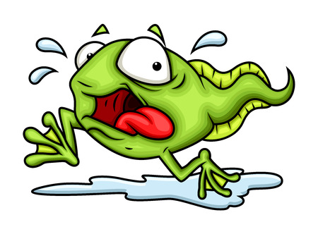 fearful: Fearful Cartoon Frog Illustration