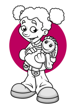 naughty girl: Happy Girl Holding a Doll Vector Drawing