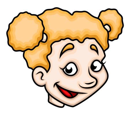 innocent girl: Joyful Cartoon Girl Face