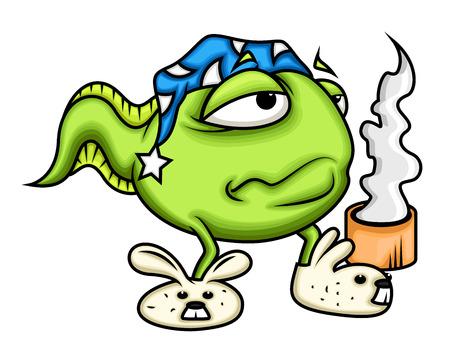 tadpole: Cartoon Sleepy Frog Having Coffee
