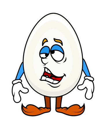 Tired Cartoon Egg Character