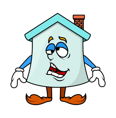 feeling exhausted: Frustrated Cartoon Home Character