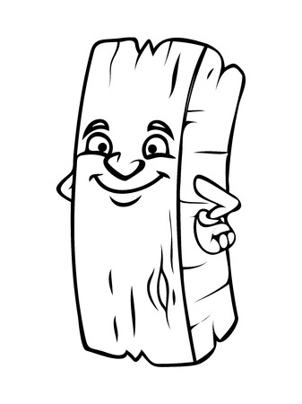 wood log: Naughty Smile Cartoon Wood Log Vector Clipart