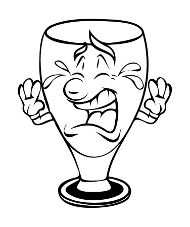 weeping: Cartoon Wine Glass Crying Vector Clipart