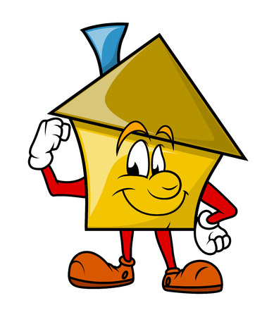 house under construction: Powerful Cartoon House Character