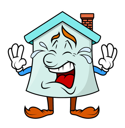 house under construction: Crying - Cartoon Home Character Illustration