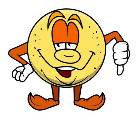 thumb down: Cartoon Fruit Character Showing Thumb Down