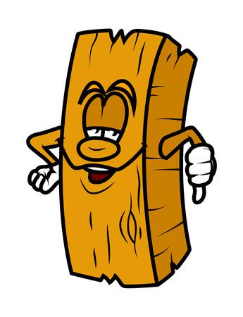 pulgar abajo: Cartoon tabl�n de madera que muestra el pulgar hacia abajo Vectores