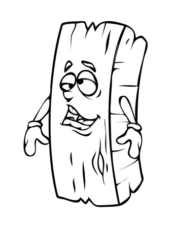 wood log: Stressful Cartoon Wood Log Vector Clipart