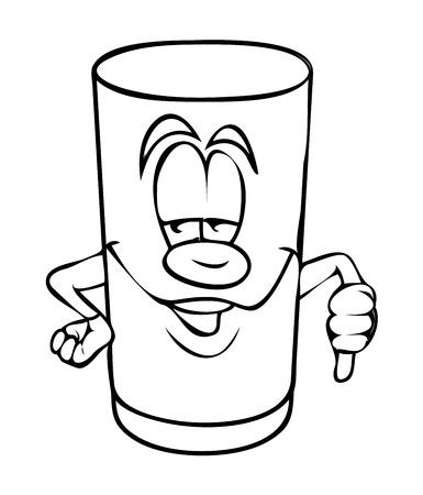 thumb down: Naughty Cartoon Glass Showing Thumb Down Vector Clipart