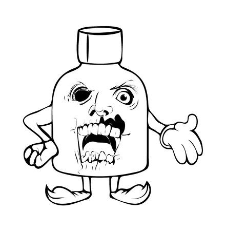 horrible: Horrible Cartoon Halloween Bottle Illustration Illustration