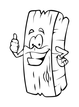 wood log: Cartoon Wood Log Showing Thumbs Up Vector Clipart
