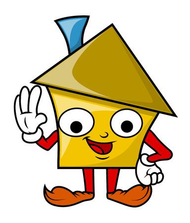 house under construction: Funny Happy Cartoon House Character