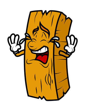 wood log: Cartoon Wood Log Crying