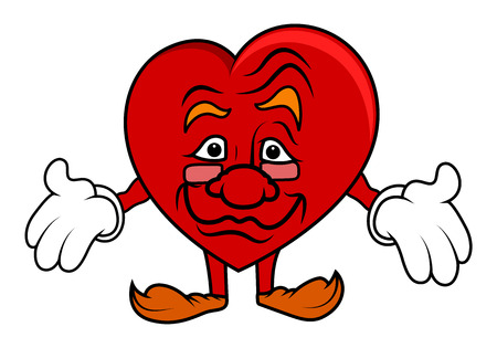 aged: Aged Cartoon Heart Character Illustration