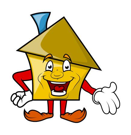 house under construction: Cartoon House Presenting Vector Illustration