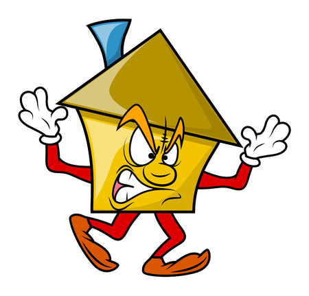 house under construction: Angry Cartoon House Character Illustration