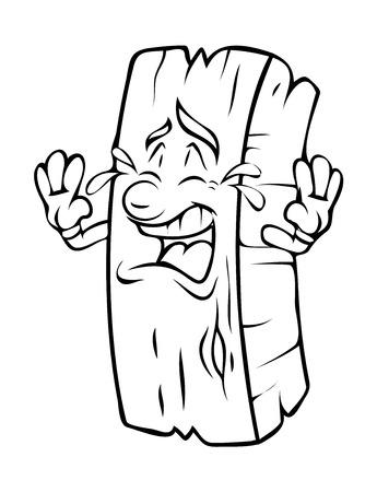 carpentry cartoon: Crying Cartoon Wood Log Vector Clipart