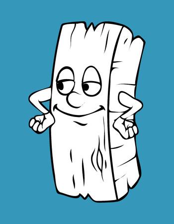 innocent: Innocent Smile Cartoon Wood Log Vector Clipart