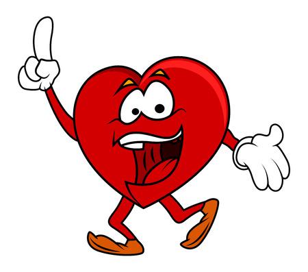 hartje cartoon: Vrolijke Karakter Heart Cartoon Stock Illustratie