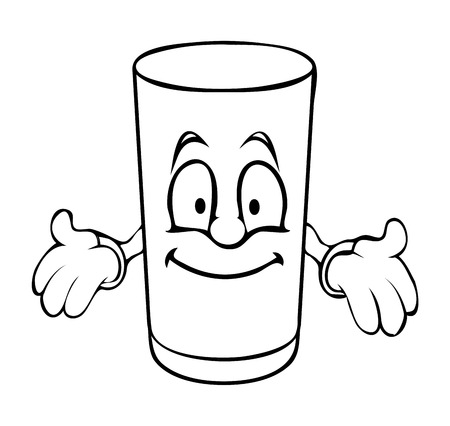 Funny Cartoon Glass Presenting Vector Clipart
