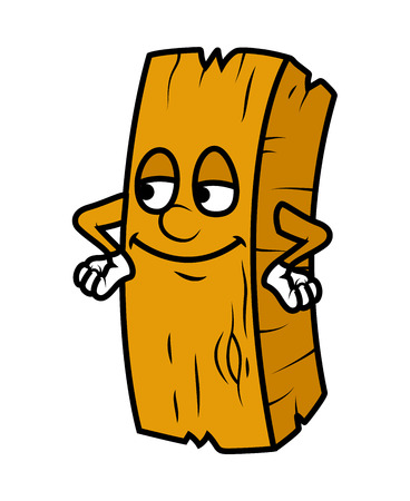 wood log: Satisfied Cartoon Wood Log Vector