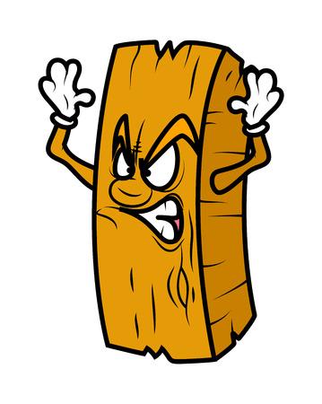 Angry Cartoon Wood Log Vector 일러스트