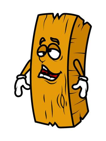 carpentry cartoon: Lazy Cartoon Wood Log Vector Illustration