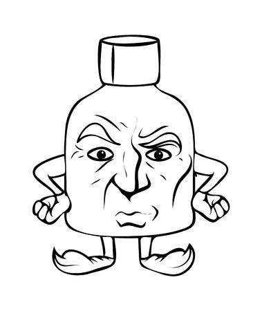 irritated: Unhappy Cartoon Bottle Vector Clipart
