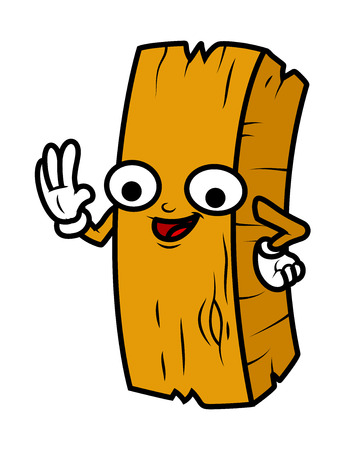wood log: Funny Cartoon Wood Log Vector