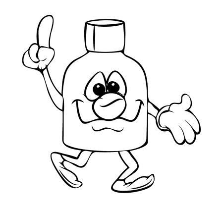 inkpot: Funny Cartoon Bottle Pointing Vector Clipart Illustration