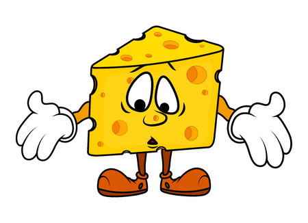 chunk: Scared Cartoon Cheese Character Illustration
