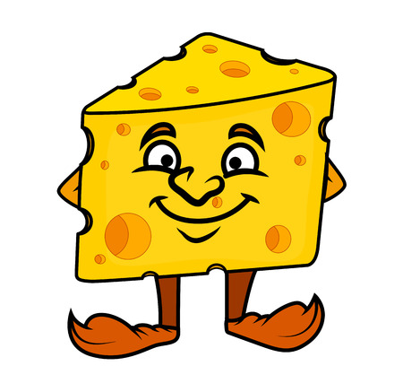 satisfied expression: Smiling Cartoon Cheese Vector