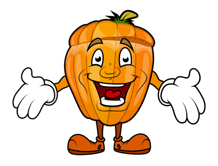 laughing: Laughing Cartoon Pumpkin Character Illustration
